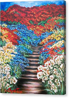 Canvas Print featuring the painting Garden Cascade by Sigrid Tune