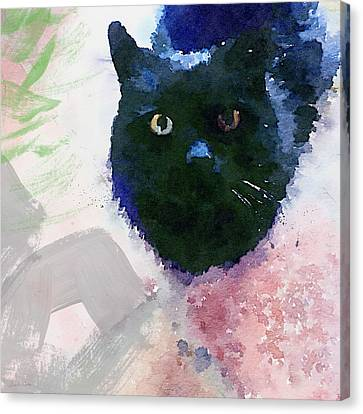 Garden Cat- Art By Linda Woods Canvas Print by Linda Woods