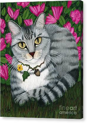 Canvas Print featuring the painting Garden Cat - Silver Tabby Cat Azaleas by Carrie Hawks