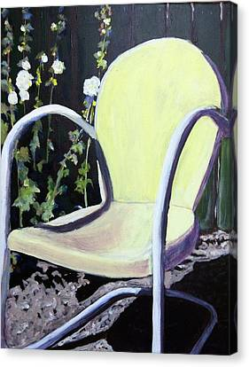 Garden Chair Canvas Print by Debbie Phillips Conejo
