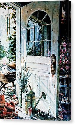 Garden Chores Canvas Print by Hanne Lore Koehler