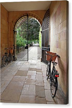 Wrought Iron Bicycle Canvas Print - Garden Entrance Clare College by Gill Billington