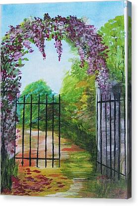 Canvas Print featuring the painting Garden Entrance by Trilby Cole