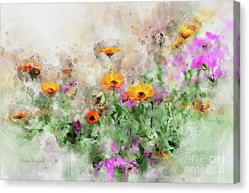 Garden Floral Canvas Print by Diana Voyajolu