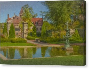 Garden Fountain At Ames Free Library Canvas Print