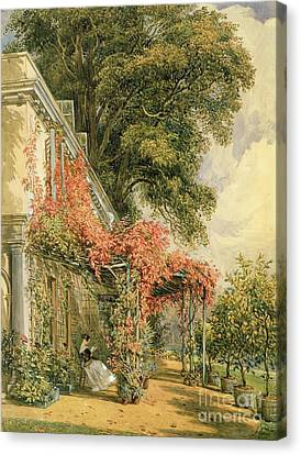 Garden Front Of Mr Robert Vernon's House At Twickenham Canvas Print by John James Chalon