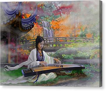 Garden Of Peace - Girl With Guzheng Canvas Print