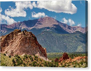 Garden Of The Gods And Pikes Peak Canvas Print by Bill Gallagher
