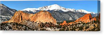 Canvas Print featuring the photograph Garden Of The Gods Medium Panorama by Adam Jewell