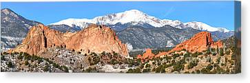 Canvas Print featuring the photograph Garden Of The Gods Panorama by Adam Jewell