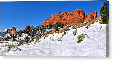 Canvas Print featuring the photograph Garden Of The Gods Red And White by Adam Jewell