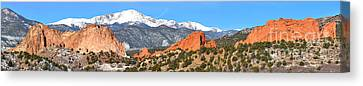 Canvas Print featuring the photograph Garden Of The Gods Red Rock Panorama by Adam Jewell