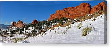 Canvas Print featuring the photograph Garden Of The Gods Snowy Blue Sky Panorama by Adam Jewell
