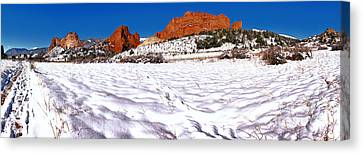 Canvas Print featuring the photograph Garden Of The Gods Snowy Morning Panorama by Adam Jewell