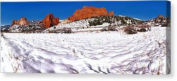 Canvas Print featuring the photograph Garden Of The Gods Snowy Morning Panorama Crop by Adam Jewell