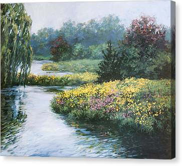 Garden On Water Canvas Print by Laurie Hein