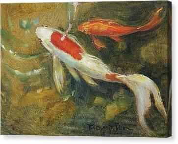 Garden Pond Goldfish 2 Canvas Print by Tracie Thompson