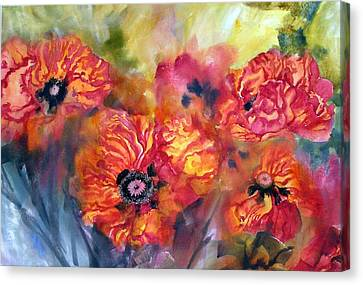Garden Poppies Canvas Print by Pat Crowther