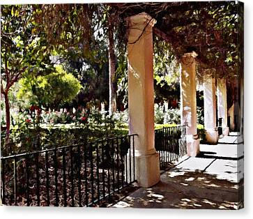 Canvas Print featuring the photograph Garden Promenade - San Fernando Mission by Glenn McCarthy Art and Photography
