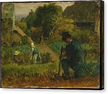 Garden Scene Canvas Print by Franois Millet