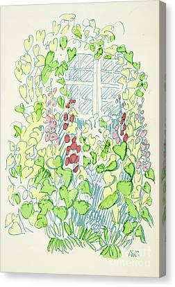 Red Leaf Canvas Print - Garden Sketch by German School