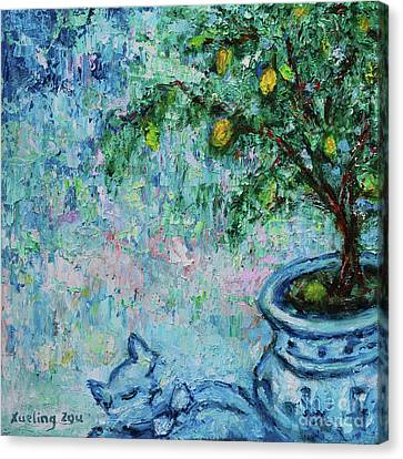 Canvas Print featuring the painting Garden Sleeping Cat by Xueling Zou