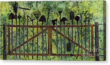 Canvas Print featuring the painting Garden Tools by Hailey E Herrera