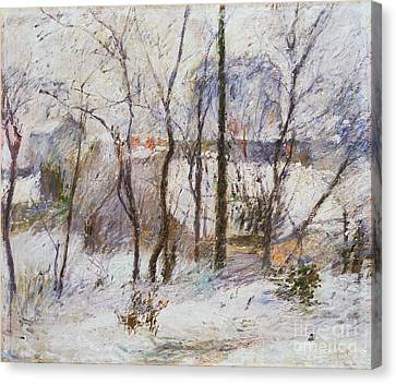 Garden Under Snow Canvas Print by Paul Gauguin