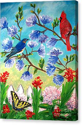 Garden View Birds And Butterfly Canvas Print by Patricia L Davidson
