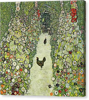 Rooster Canvas Print - Garden With Chickens by Gustav Klimt