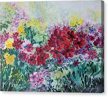 Canvas Print featuring the painting Garden With Reds by Joanne Smoley