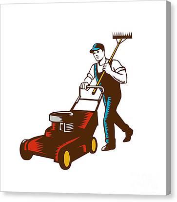 Gardener Lawn Mower Rake Woodcut Canvas Print