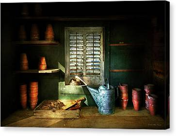 Gardener - The Potters Shed Canvas Print by Mike Savad