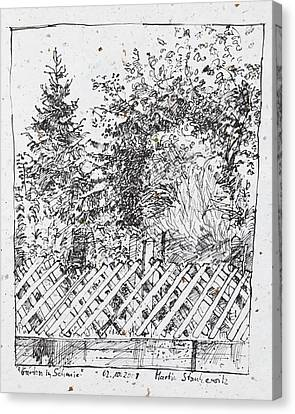 Garden,fence And Trees Canvas Print