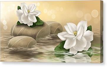 Brown Color Canvas Print - Gardenia by Veronica Minozzi