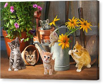 Gardening Kittens Canvas Print