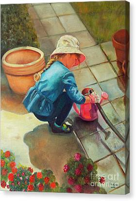 Canvas Print featuring the painting Gardening by Marlene Book