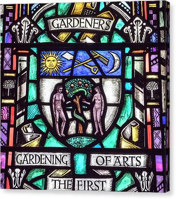 Canvas Print - Gardening Stained Glass by Jean Noren