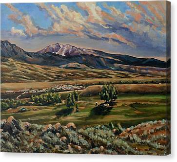 Gardiner And Electric Peak From Scotty's Place Canvas Print