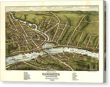 Gardiner And Pittston Maine 1878 Canvas Print by Mountain Dreams