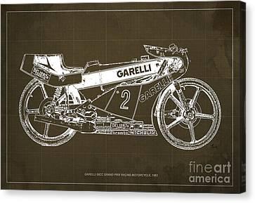 Garelli 50cc Grand Prix Racing Motorcycle 1983 Blueprint Canvas Print