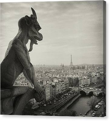 Universities Canvas Print - Gargoyle Of Notre Dame by Zeb Andrews
