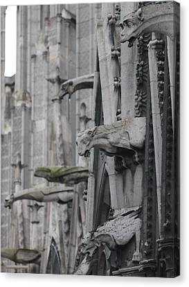 Canvas Print featuring the photograph Gargoyles North Notre Dame by Christopher Kirby