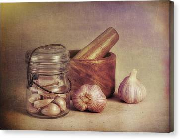 Alliums Canvas Print - Garlic In A Jar by Tom Mc Nemar