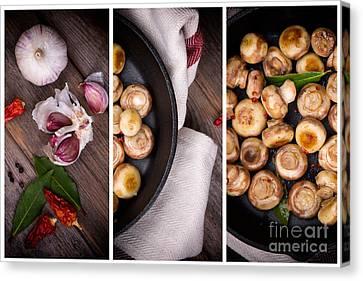 Button Mushrooms Canvas Print - Garlic Mushrooms Triptych by Jane Rix