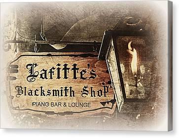 Gas Light At Lafitte's Blacksmith Shop Canvas Print by Toni Abdnour