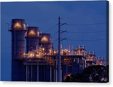 Canvas Print featuring the photograph Gas Power Plant At Night by Bradford Martin