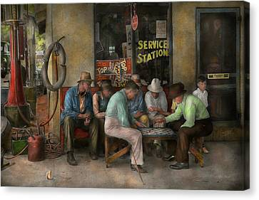 Gas Station - Playing Checkers Together 1939 Canvas Print by Mike Savad