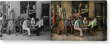 Gas Station - Playing Checkers Togther 1939 - Side By Sdie Canvas Print by Mike Savad