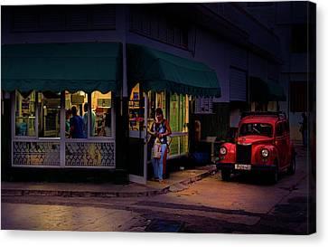 Gasolinera Linea Y Calle E Havana Cuba Canvas Print by Charles Harden